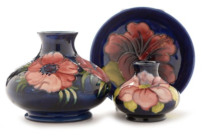 Lot 1502-Two Moorcroft Vases and a small bowl