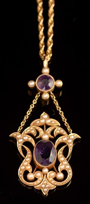 Lot 73-Amethyst and Pearl Necklace
