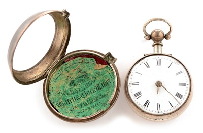 Lot 1-A Georgian white metal pair cased pocket watch.