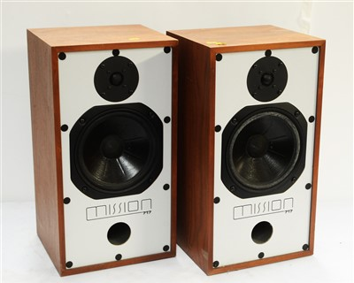 Lot 55 - Pair of Mission 717 hi-fi speakers; and two pairs of floor stands.