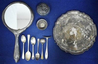 Lot 38-Silver waiter and other items