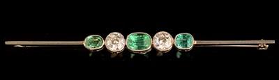 Lot 61-Emerald and diamond brooch
