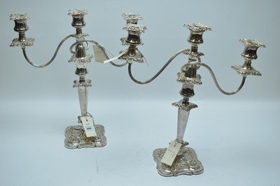 Lot 57-Silver plated candelabras