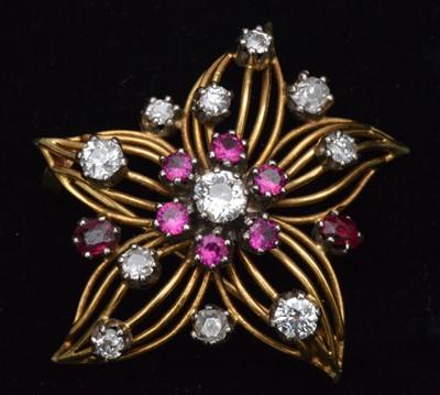 Lot 80-Ruby and diamond brooch
