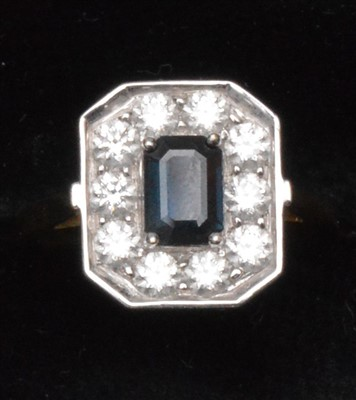 Lot 76-Sapphire and diamond ring