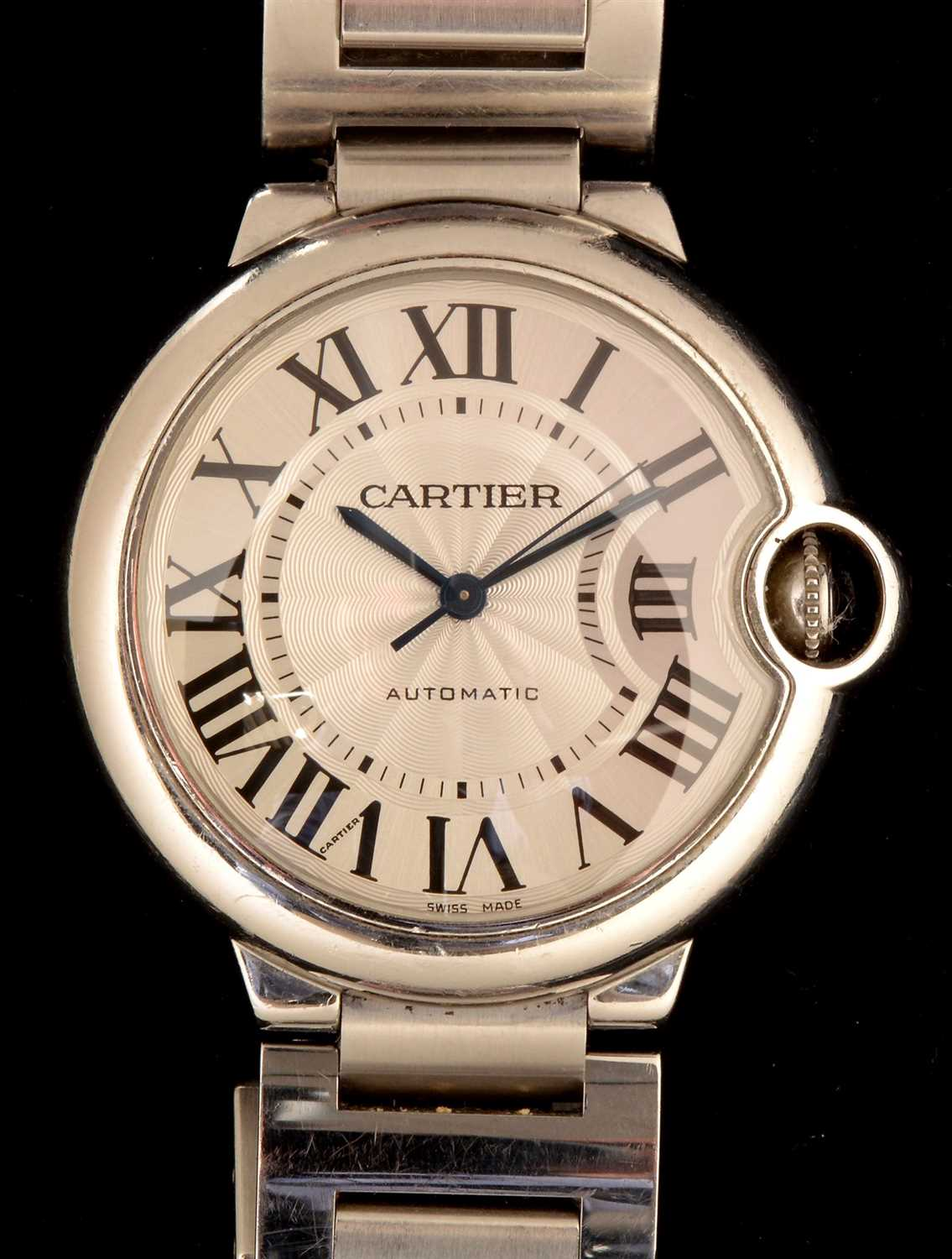 Lot 65-Cartier Ballon Bleu: an automatic stainless...