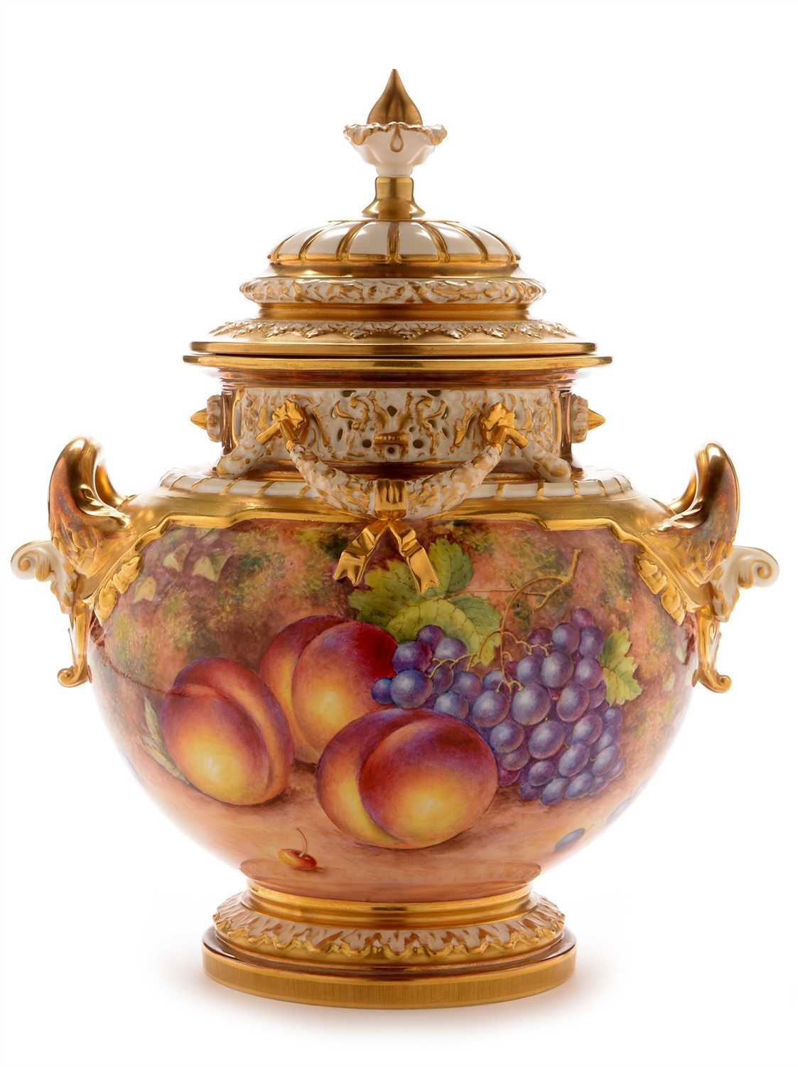 Lot 544-Worcester Fruit Painted Pot Pourri Vase and Cover by John H Freeman