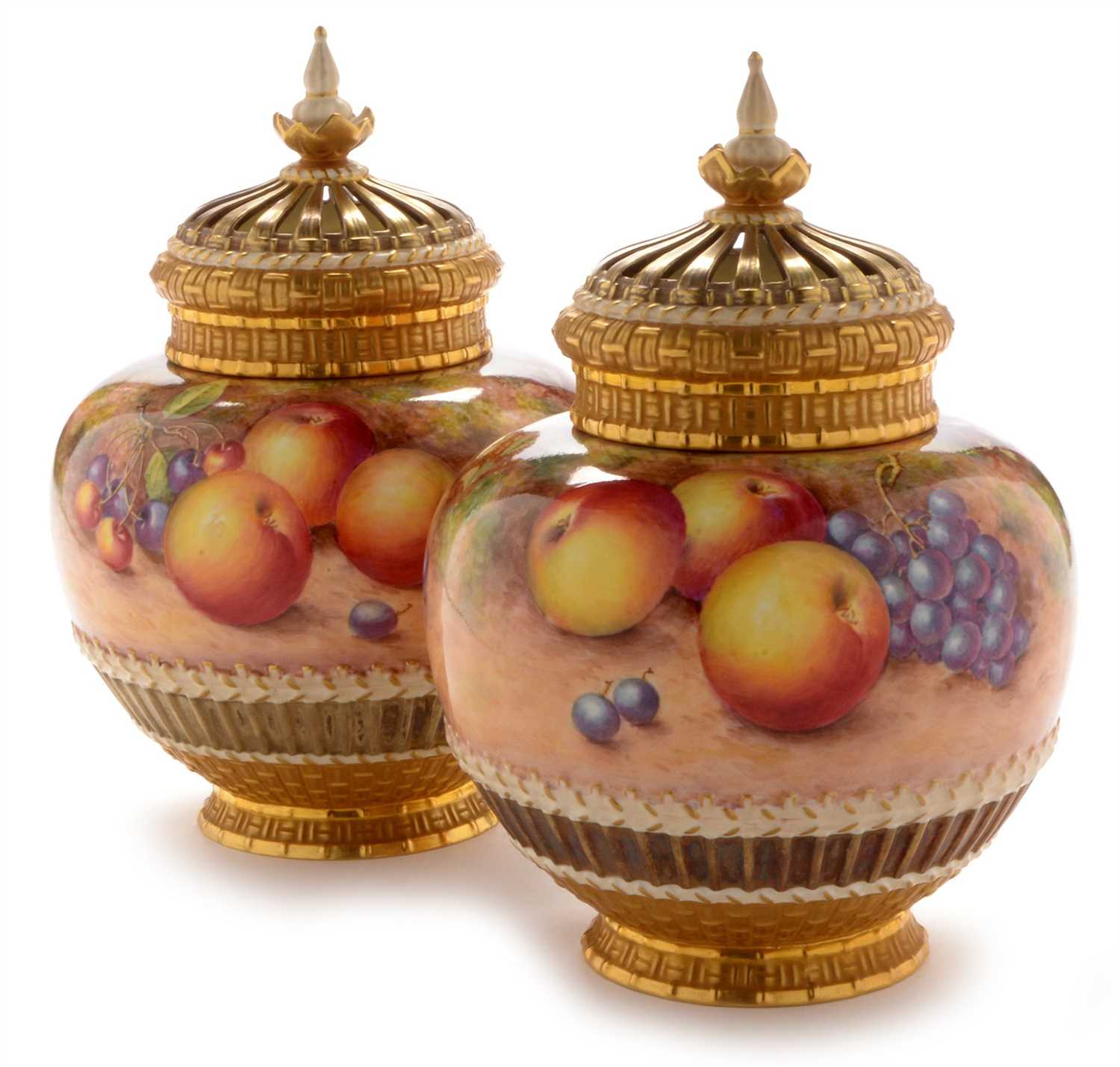 Lot 545 - Pair of Royal Worcester Fruit painted vases and covers by Freeman
