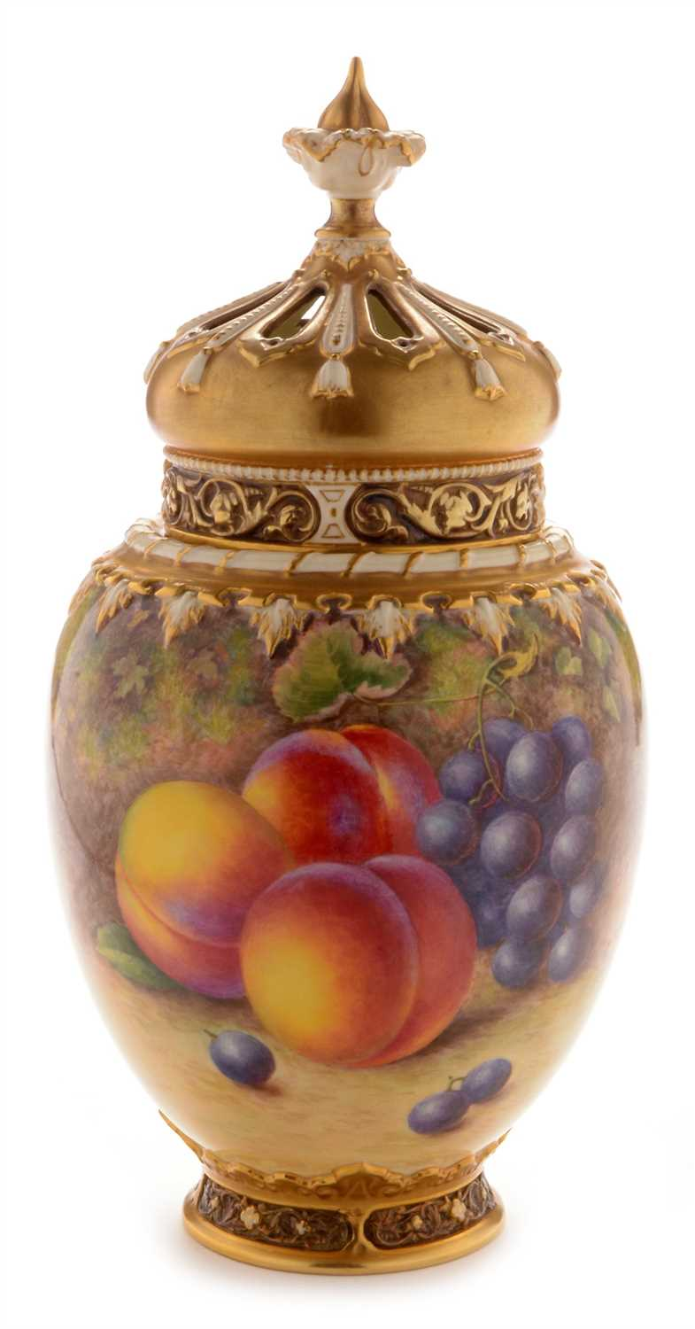 Lot 547-Royal Worcester fruit painted pot pourri vase and cover by H Ayrton