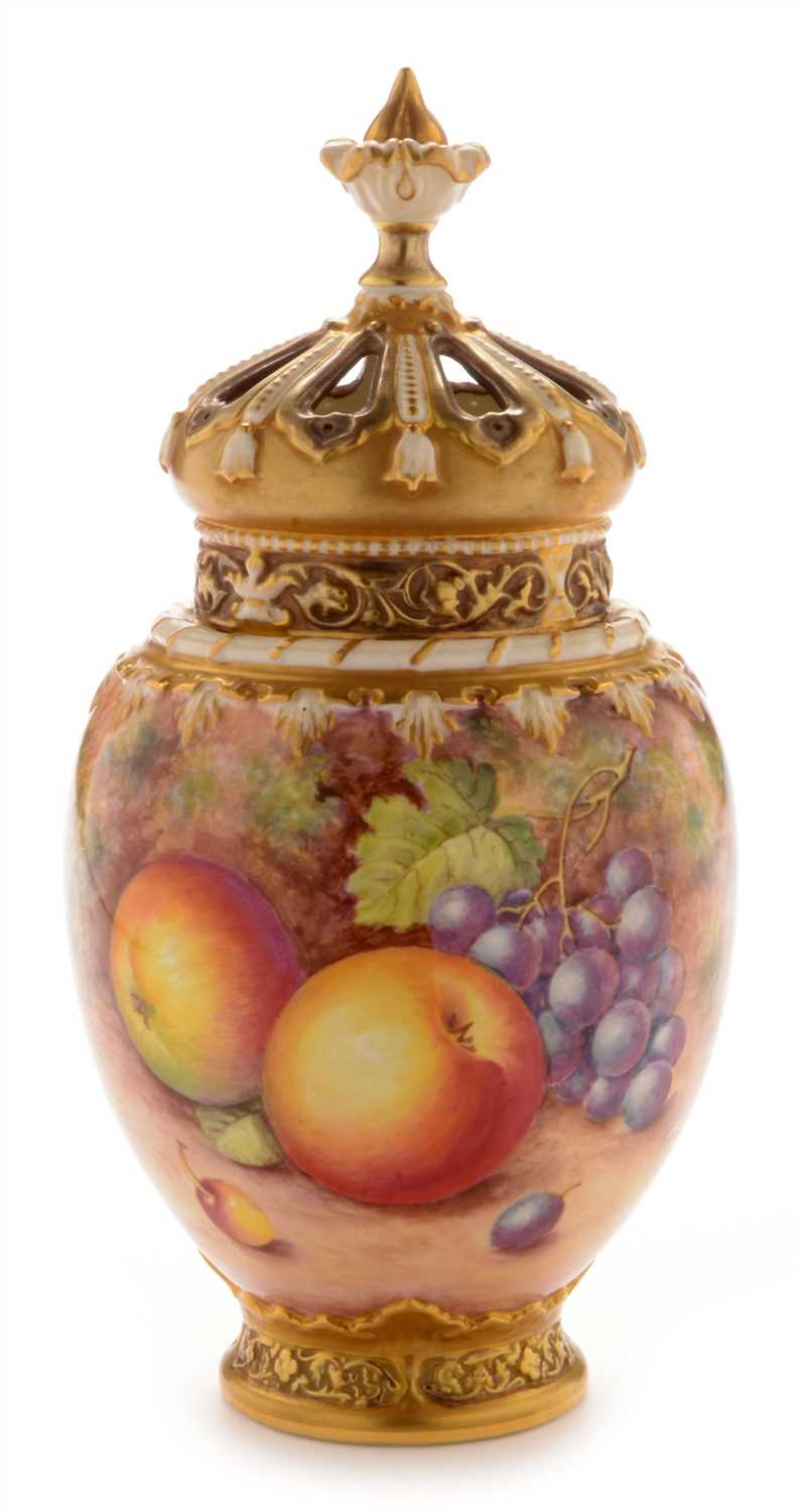 548 - Royal Worcester fruit painted pot pourri vase and cover by Freeman