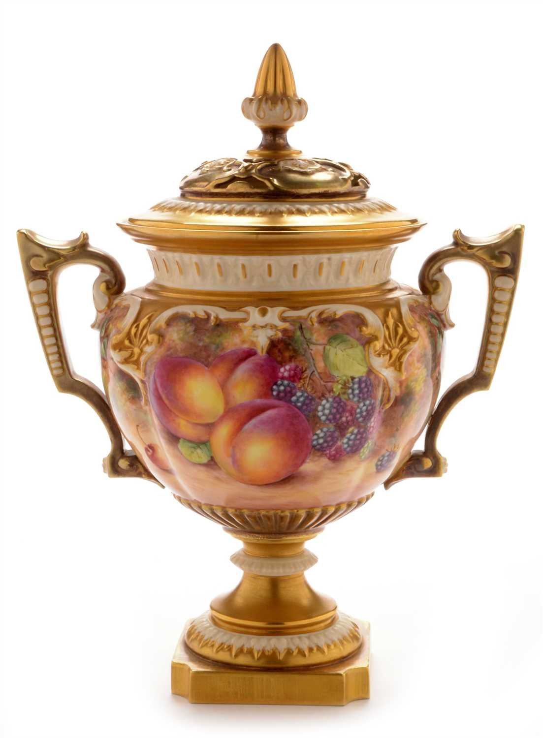 Lot 549-Royal Worcester pot pourri vase and cover by Freeman