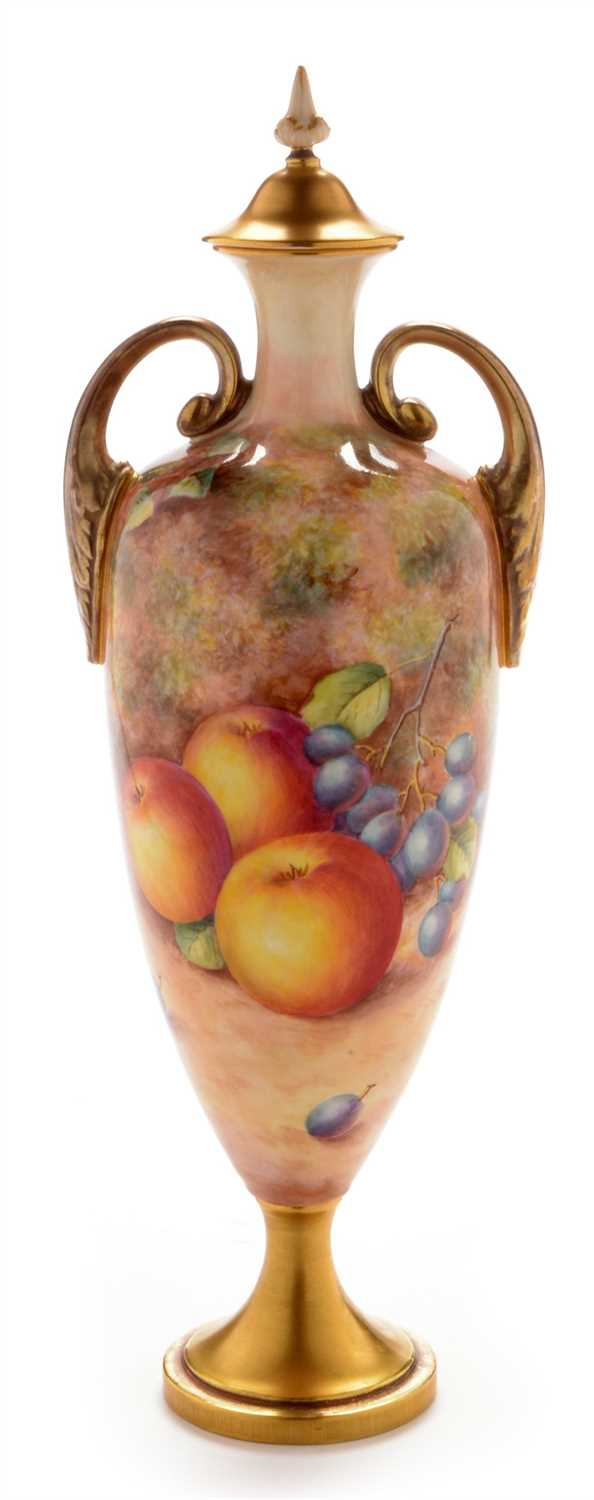 Lot 550-Royal Worcester fruit painted vase and cover by Freeman