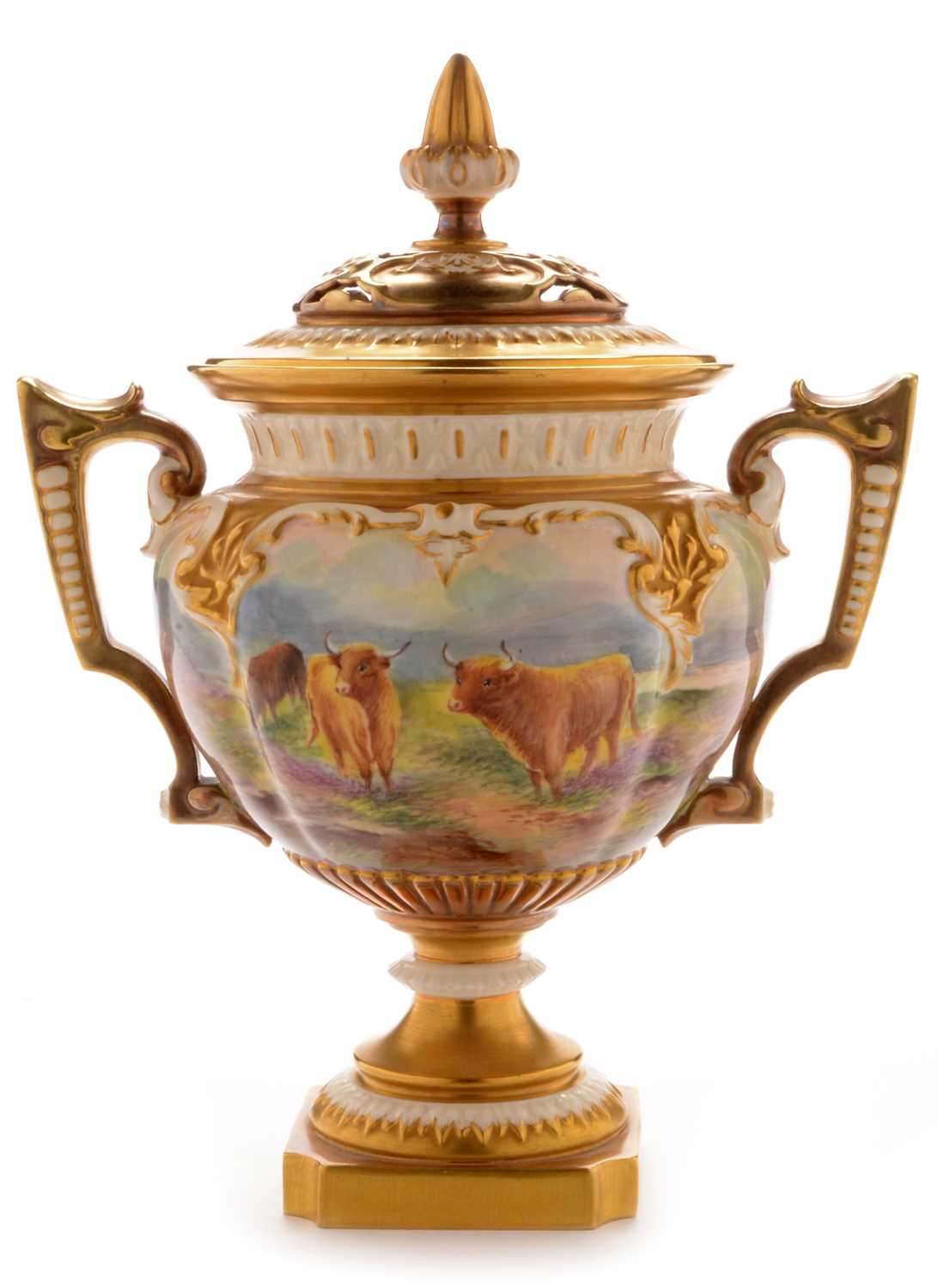 Lot 551-Royal Worcester vase and cover by Townsend