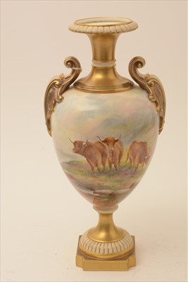 Lot 552-Royal Worcester ovoid vase painted with cattle by E. Townsend