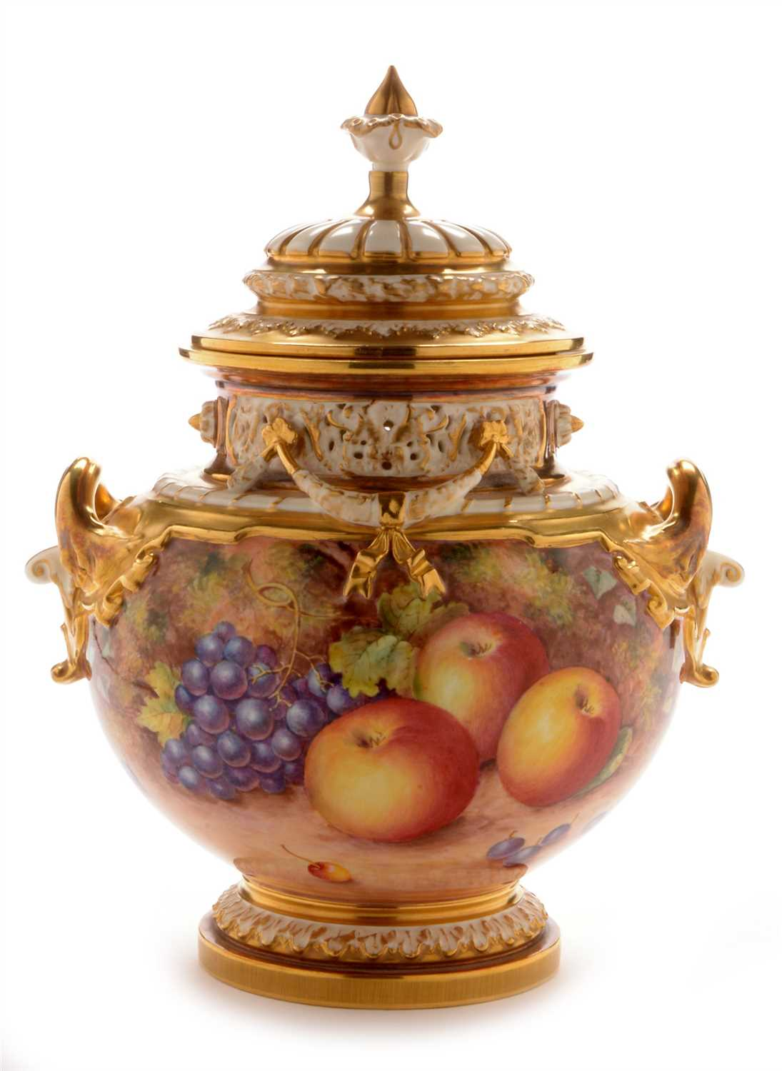 Lot 556-Royal Worcester fruit painted vase and cover by Freeman