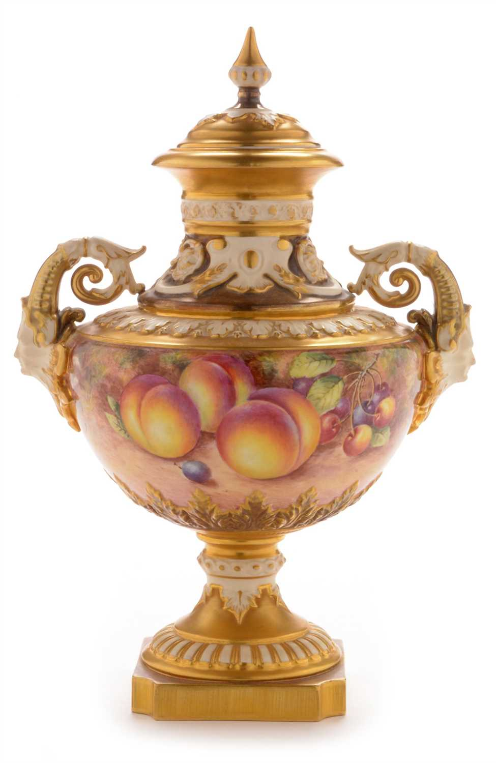 Lot 555-Royal Worcester fruit painted vase and cover by Freeman