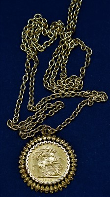 Lot 12-Gold sovereign on 9ct chain and mount