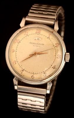 Lot 44 - Jaeger LeCoultre: a gentleman's stainless steel 'bumper' wristwatch