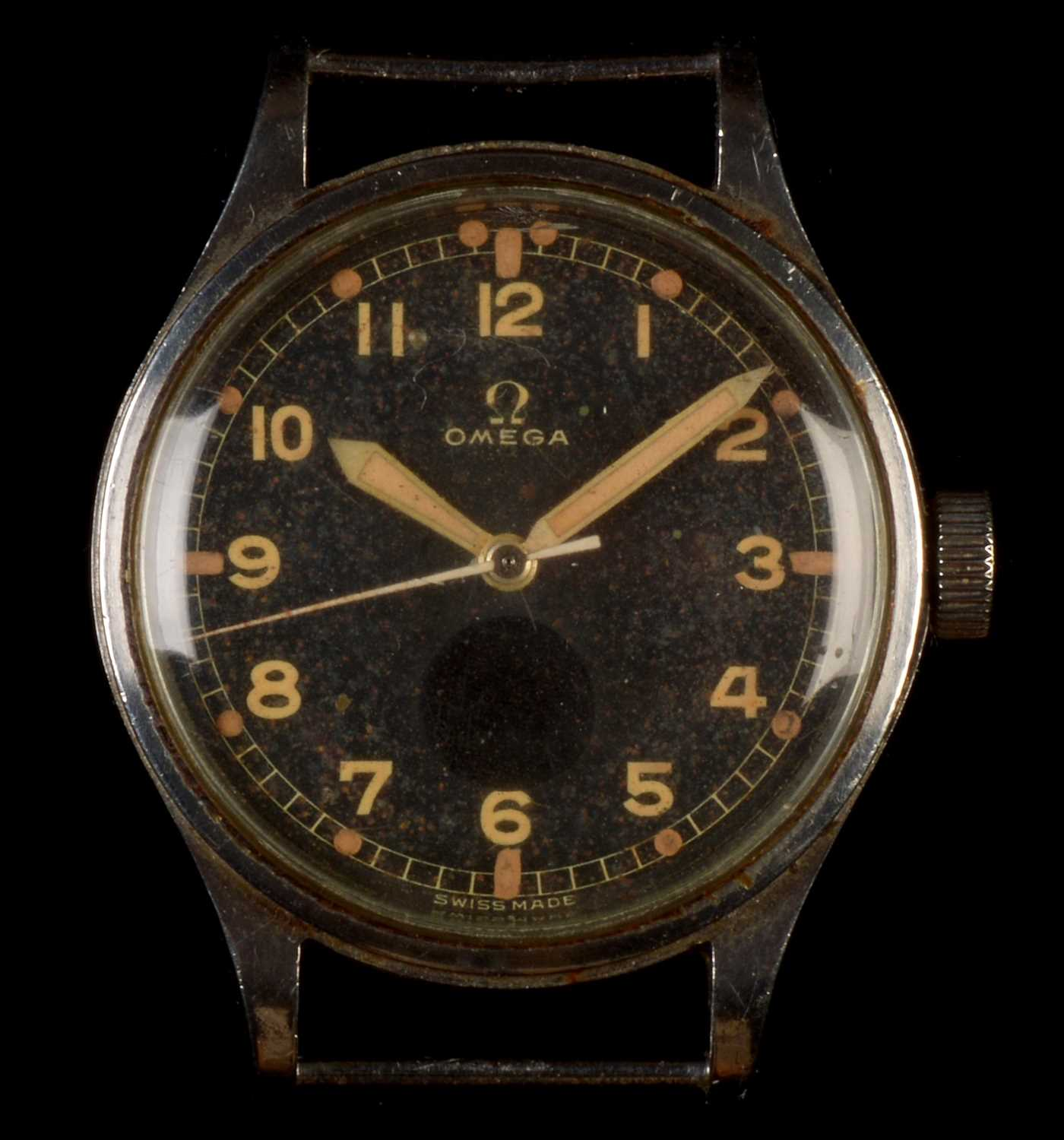 Lot 47-Omega: an RAF issue stainless steel gentleman's wristwatch c1953