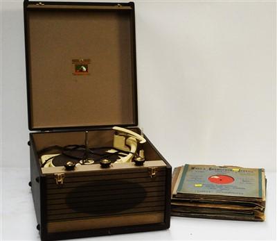 Lot 60 - An HMV 'His Masters Voice' mono portable record player.