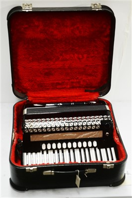 Lot 1-A Hohner Atlantic IVN Musette 120 bass piano accordion.