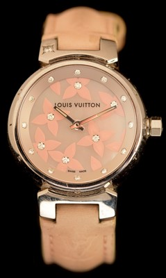Lot 34 - Louis Vuitton: a tambour 'Lovely Diamonds' stainless steel lady's wristwatch