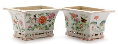 Lot 469-Pair of Chinese Famille Rose jardinieres.