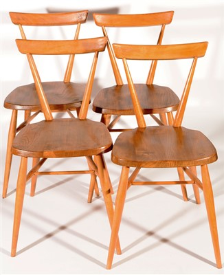 Lot 1562 - Ercol: four adult stacking chairs No. 392.