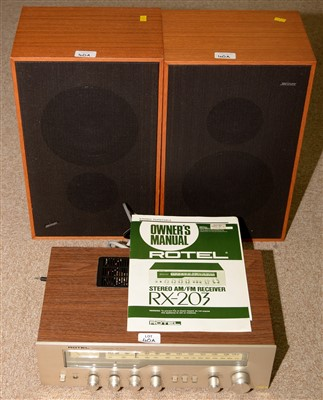 Lot 40A - A Rotel RX203 receiver; and two speakers by Solarvox.