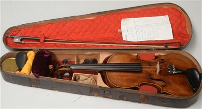 Lot 98A - Violin and bow cased with restorers label Thomas Alexander, 1968