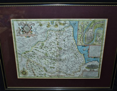 Lot 502-John Speed engraved map of Durham