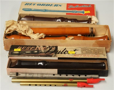 Lot 30A - Adler Tenor Recorder, two others and 3 tin whistles.