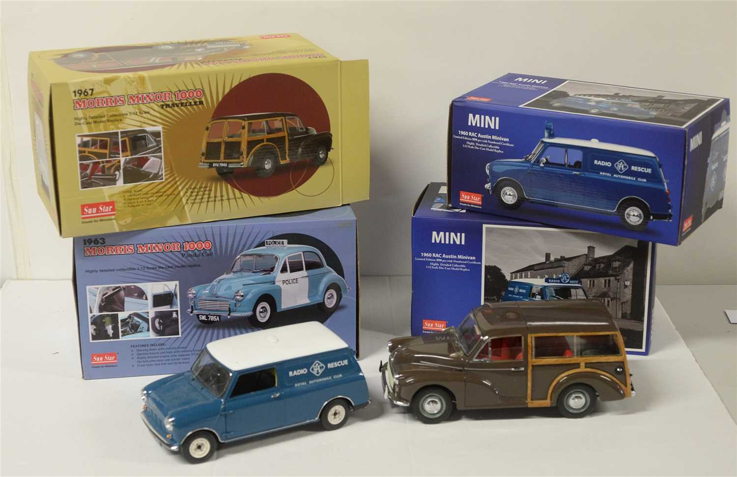 Lot 1321-Die-cast model Mini and Morris Minor cars by Sun Star.