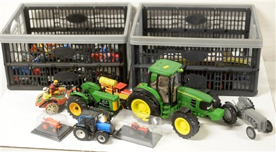 Lot 1322 - Die-cast model tractors, motor cycles and tinplate toys