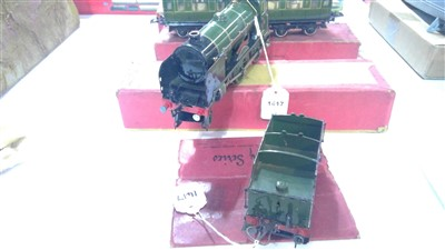 Lot 1417-0-gauge locomotive and tender; and two corridor coaches.
