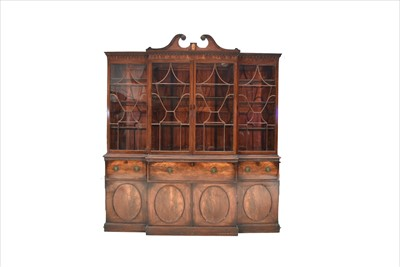 Lot 1226-A George III mahogany breakfront secretaire bookcase.