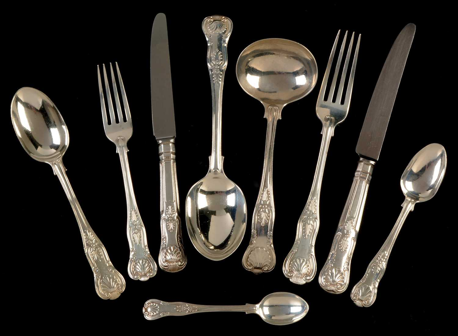 253 - Kings pattern silver cutlery service