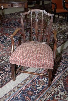 Lot 1185 - A set of ten George III and later mahogany dining chairs.