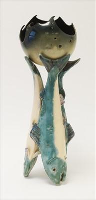 Lot 907-Studio Pottery fish centrepiece
