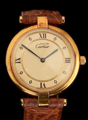 Lot 50 - Must de Cartier: a silver-gilt lady's Vermeil wristwatc