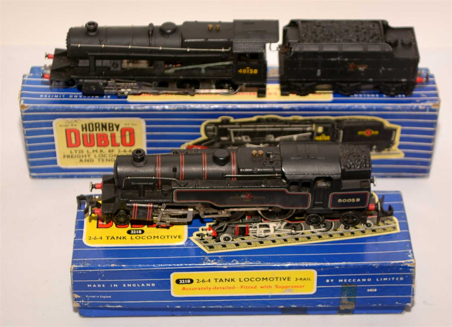Lot 1397-Hornby Dublo locomotives and tender.