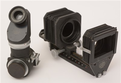 Lot 1436-Leica viewfinder and close-up bellows attachments.