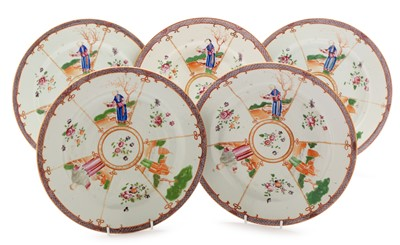 Lot 472-Five Chinese export plates