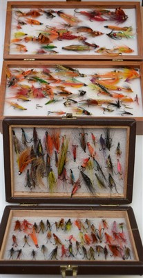 Lot 1598-A wooden presentation case of flies; and a case of flies.