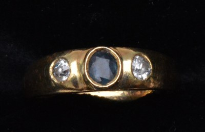 Lot 75-Sapphire and diamond ring