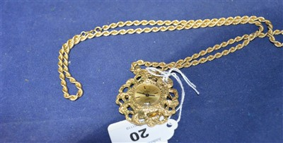 Lot 20-Watch on gold chain