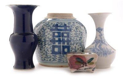 Lot 476-Three Chinese vases and a brush stand