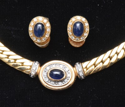 Lot 70-Sapphire and diamond necklace and earrings