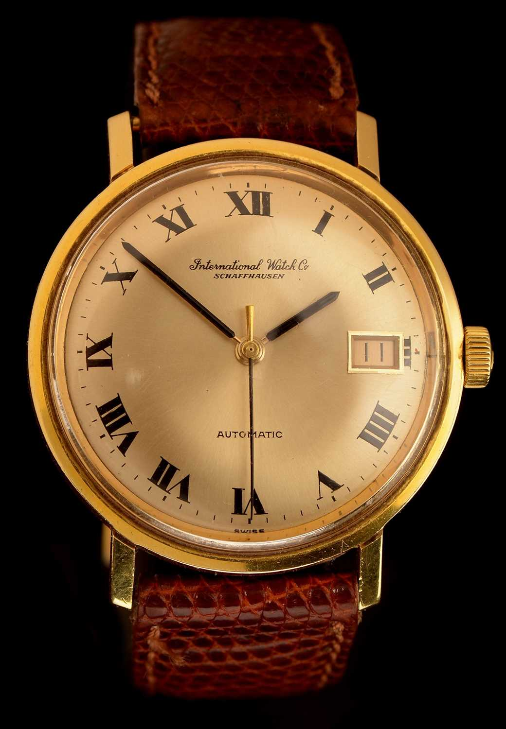 Lot 54-IWC Int. Watch Co, Schaffhausen: a gentleman's 18ct. gold cased wristwatch