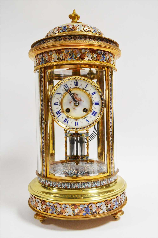 984 - Champleve enamel brass mantel clock